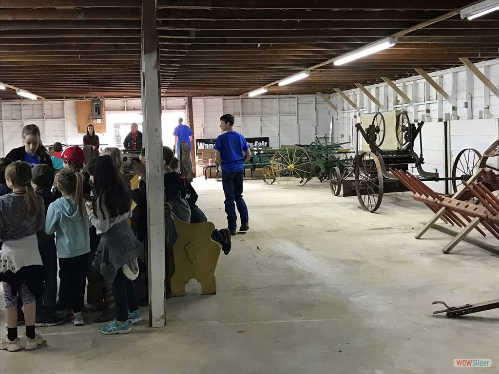 Cardinal School Students Viewing the Antique Farm Equipment